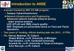 introduction to anse