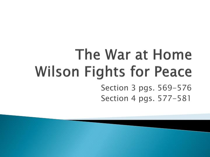 the war at home wilson fights for peace n.