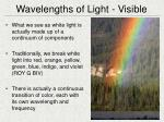 wavelengths of light visible