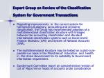expert group on review of the classification system for government transactions