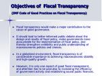 objectives of fiscal transparency imf code of good practices on fiscal transparency