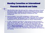 standing committee on international financial standards and codes