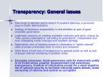 transparency general issues