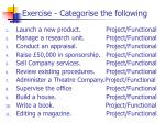 exercise categorise the following
