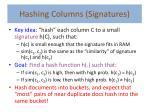 hashing columns signatures