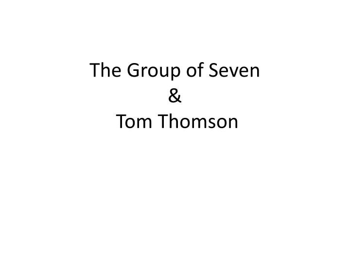 the group of seven tom thomson n.