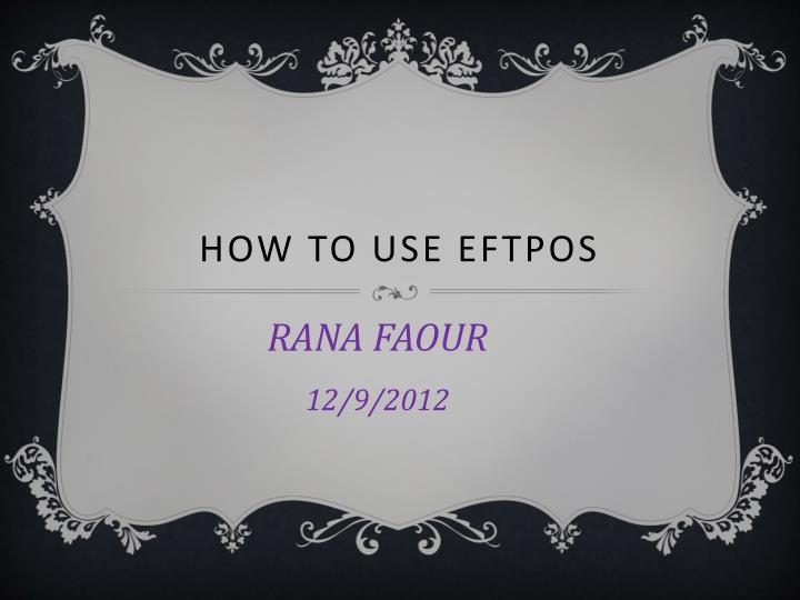 how to use eftpos n.