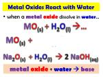 when a metal oxide dissolve in water