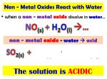 when a non metal oxide dissolve in water