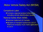 motor vehicle safety act mvsa6