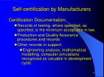 self certification by manufacturers1