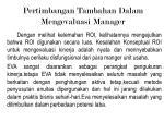 pertimbangan tambahan dalam mengevaluasi manager