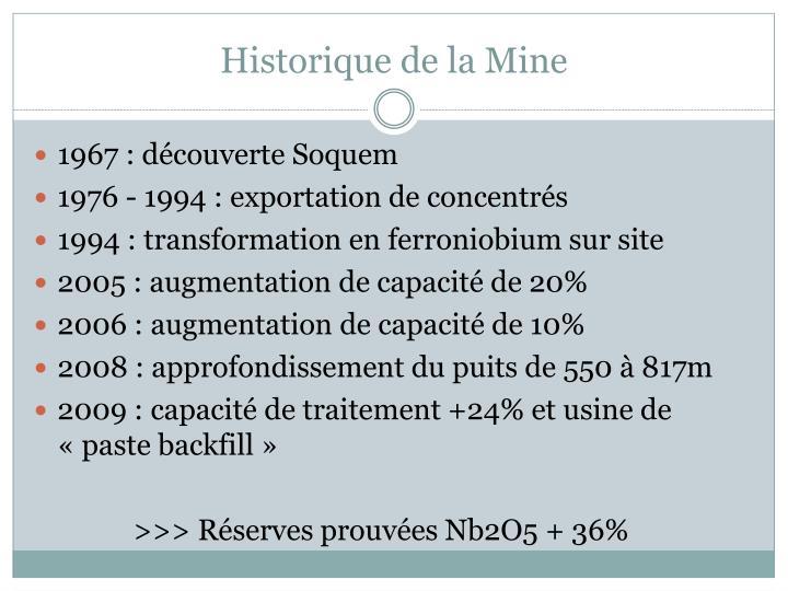 Historique de la Mine