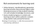 rich environments for learning cont