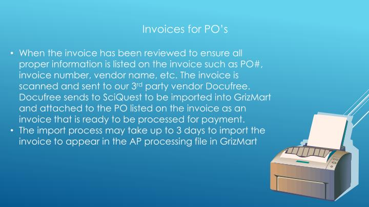 Invoices for PO's