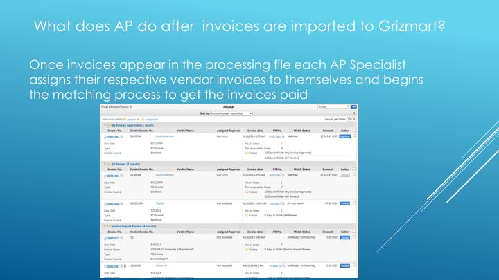 What does AP do after  invoices are imported to