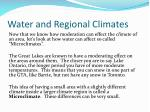 water and regional climates