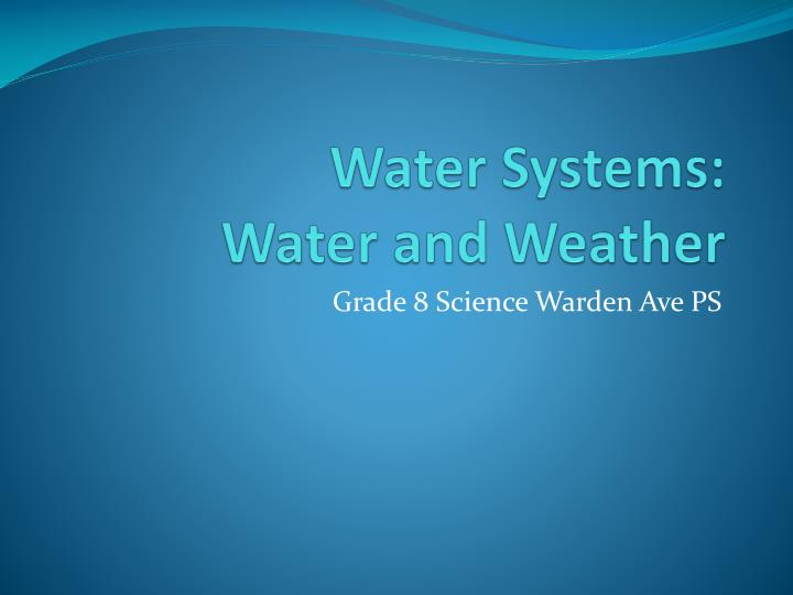 water systems water and weather n.