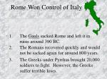 rome won control of italy