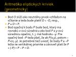 aritmetika eliptick ch kriviek geometricky