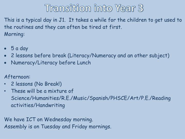 Transition into Year 3