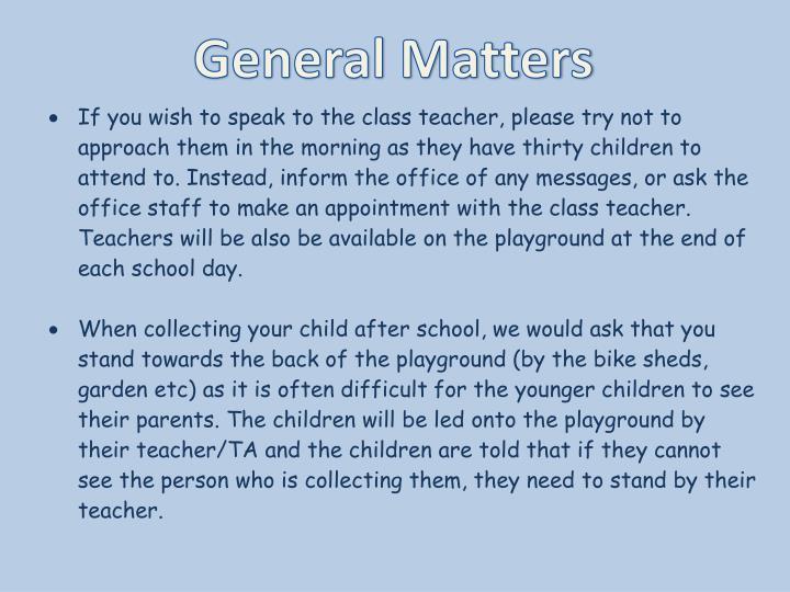 General Matters