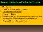 roman institutions under the empire