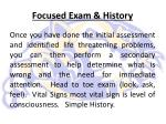 focused exam history