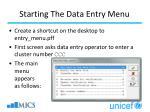 starting the data entry menu