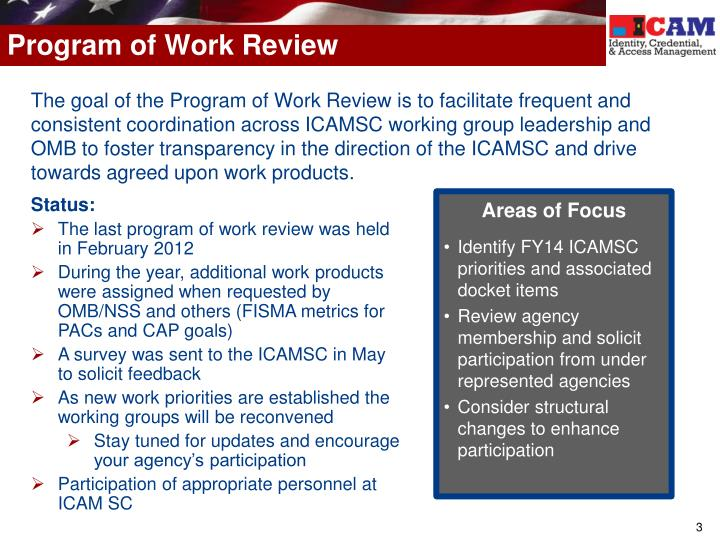 Program of work review