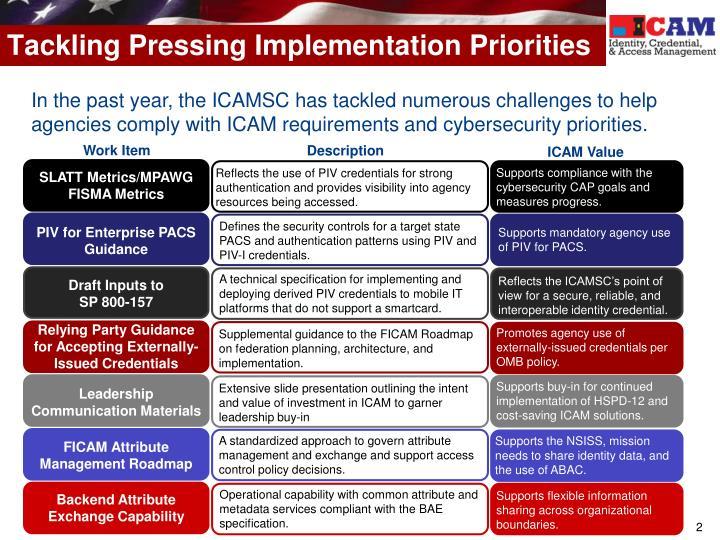 Tackling pressing implementation priorities