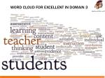word cloud for excellent in domain 3