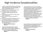 high incidence exceptionalities