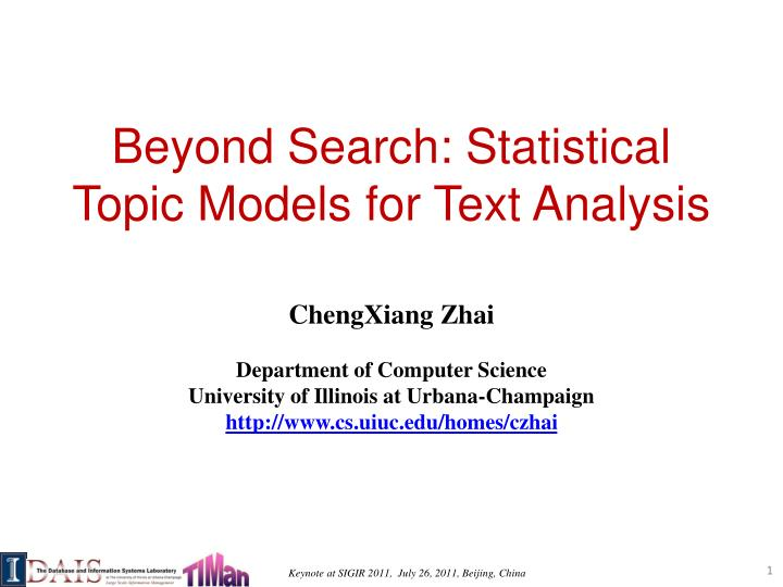 Beyond search statistical topic models for text analysis