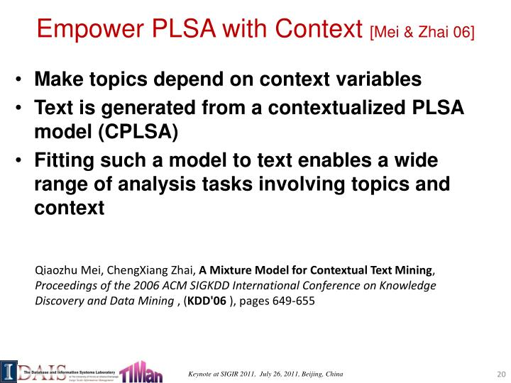 Empower PLSA with Context