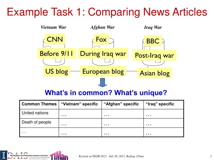 Example task 1 comparing news articles