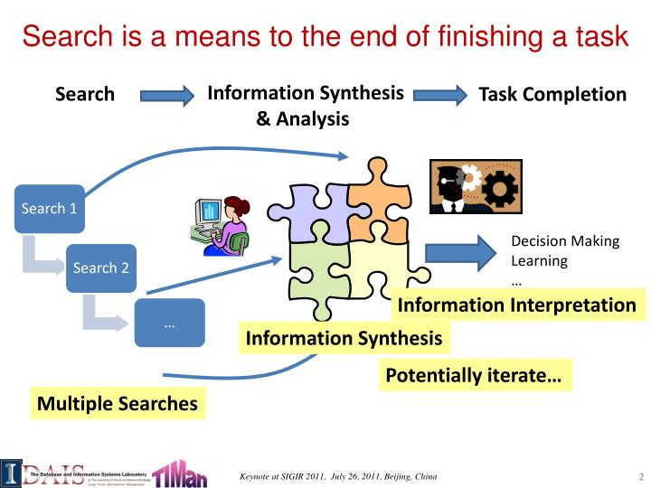 Search is a means to the end of finishing a task