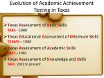 evolution of academic achievement testing in texas