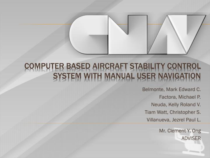 computer based aircraft stability control system with manual user navigation n.