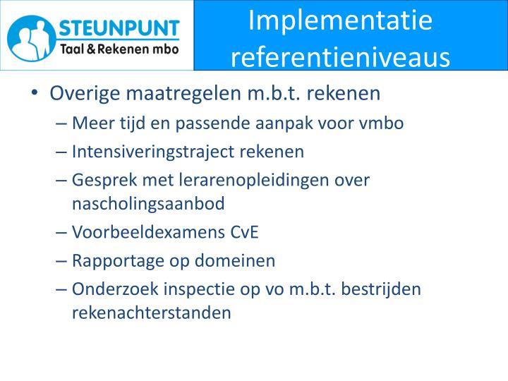 Implementatie referentieniveaus