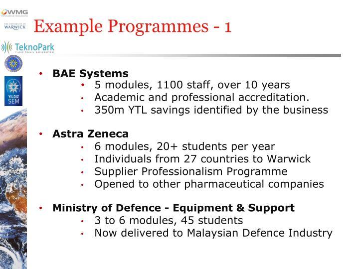 Example Programmes - 1