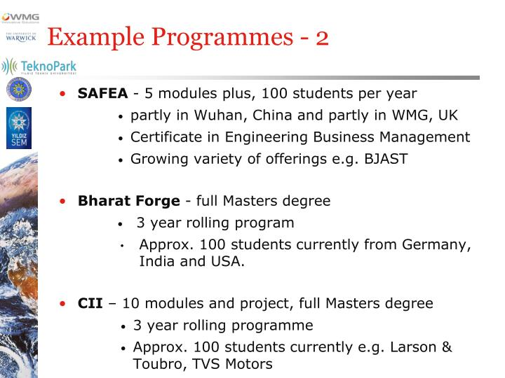 Example Programmes - 2