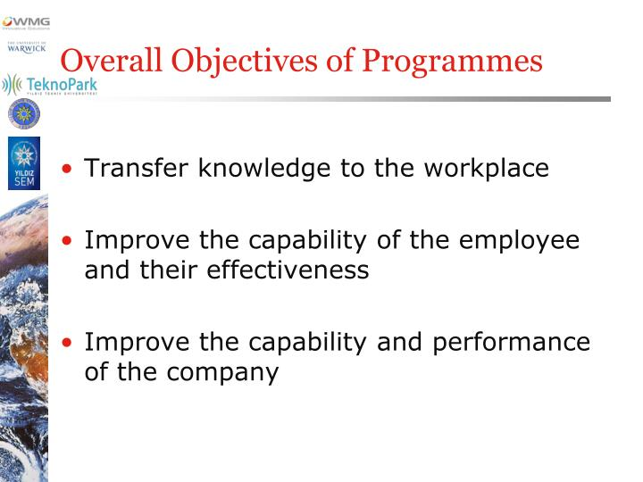 Overall Objectives of Programmes