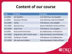 content of our course