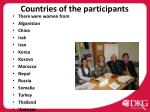 countries of the participants