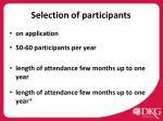 selection of participants