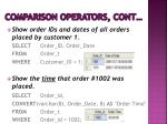 comparison operators cont