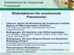 risikofaktoren f r nosokomiale pneumonien