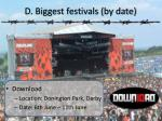 d biggest festivals by date