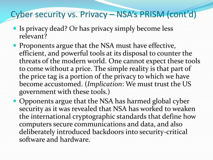 Cyber security vs. Privacy – NSA's PRISM (cont'd)